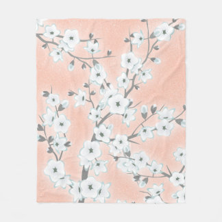 Floral Cherry Blossoms Rose Gold Fleece Blanket