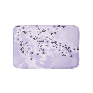 Floral Cherry Blossoms Sakura  Purple Bath Mat