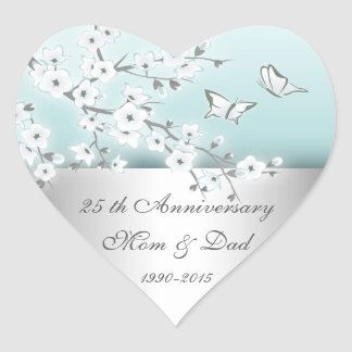 Floral Cherry Blossoms Silver 25th Anniversary Heart Sticker
