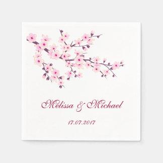 Floral Cherry Blossoms Wedding Paper Napkins