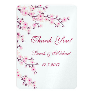 Floral Cherry Blossoms Wedding Thank You Card