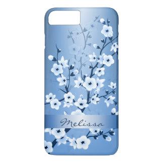 Floral Cherry Blossoms White Blue Monogram iPhone 8 Plus/7 Plus Case