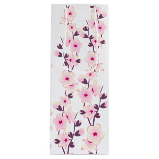 Floral Cherry Blossoms Wine Gift Bag