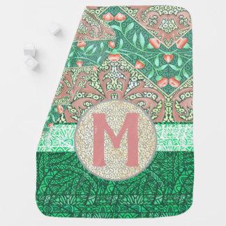 Floral Chevron Paisley Filigree Monogram Initial Baby Blanket