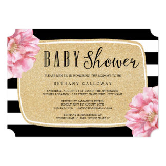 Floral Chic Baby Shower Invitation / Champagne