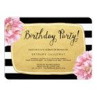 Floral Chic Birthday Invite / Faux Gold Foil