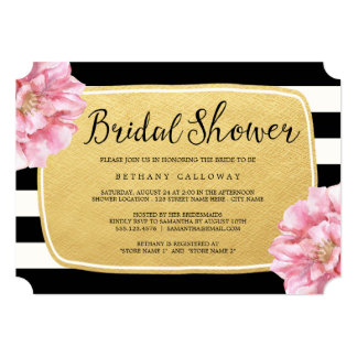 Floral Chic Bridal Shower Invitation / Gold