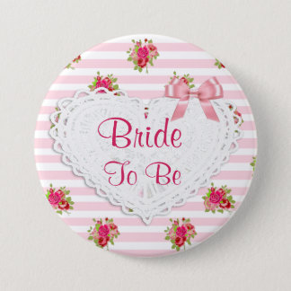 Floral Chic Bride to be Wedding button