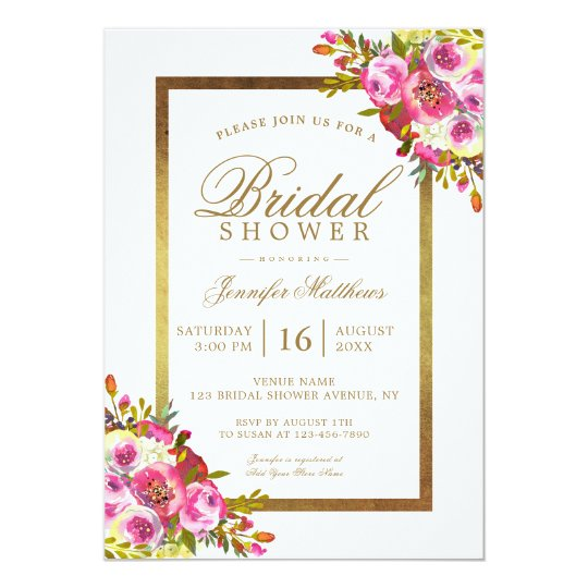 Floral Chic Gold Pink Elegant Bridal Shower Card