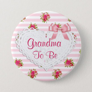 Floral Chic Grandma to be Baby Shower button