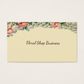 Floral Chic Pink Flowers Cascade Over Brick Wall Business Card