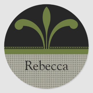 Floral Chic Stickers, Olive Green Classic Round Sticker