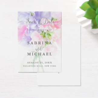 FLORAL CHIC WEDDING SWEET PEAS BUSINESS CARD