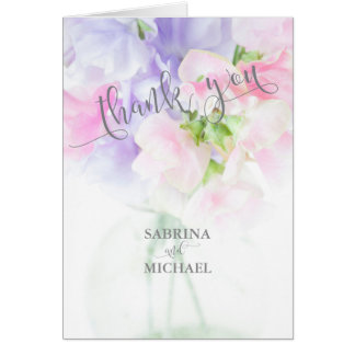 FLORAL CHIC WEDDING SWEET PEAS CARD