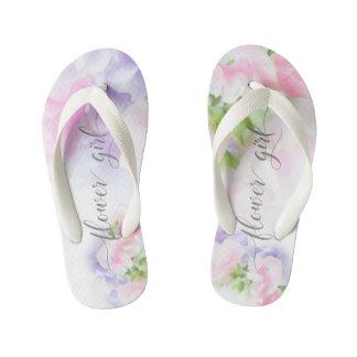 FLORAL CHIC WEDDING SWEET PEAS Flower Girl2 Kid's Flip Flops