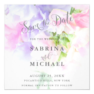 FLORAL CHIC WEDDING SWEET PEAS MAGNETIC INVITATIONS