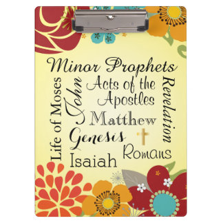 Floral Christian Books of the Bible Clipboard