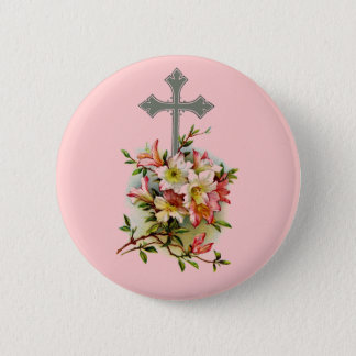 Floral Christian Cross 2 Inch Round Button