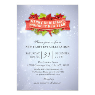 Floral Christmas & New Year's Eve Party Invitation