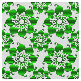 floral circles green pattern with leaves fabric