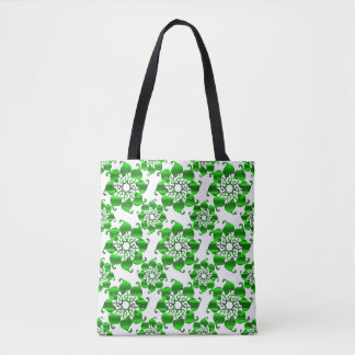 floral circles green pattern with leaves tote bag