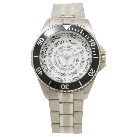 FLORAL CIRCULAR PATTERN WRIST WATCH