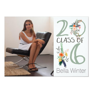 Floral Class Of 2016 Sage Card