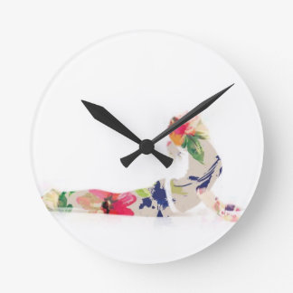 Floral Cobra Yoga Pose Series Round Clock