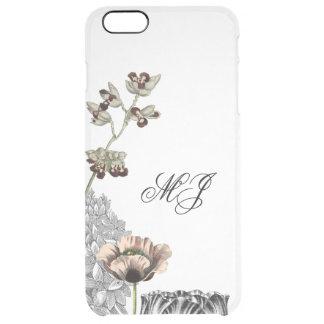 Floral Collage Elegant Clear Simple Monogram Case