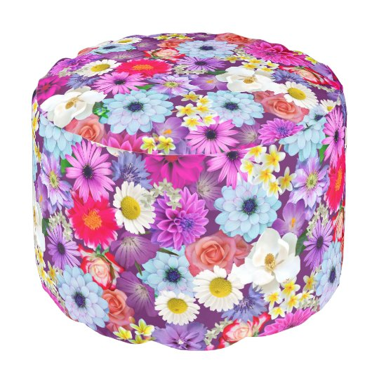 Floral Collage Pouf