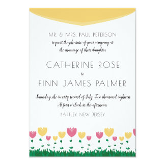 Floral Colorblock Wedding Invitation
