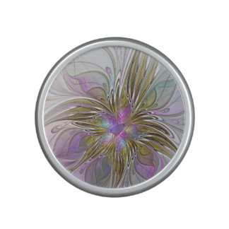 Floral Colorful Abstract Fractal With Pink & Gold Bluetooth Speaker
