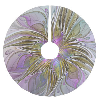Floral Colorful Abstract Fractal With Pink & Gold Brushed Polyester Tree Skirt