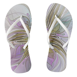 Floral Colorful Abstract Fractal With Pink & Gold Flip Flops