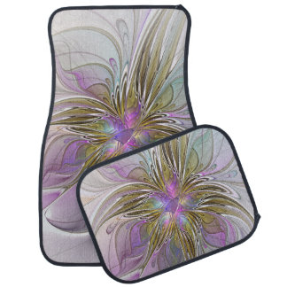 Floral Colorful Abstract Fractal With Pink & Gold Floor Mat