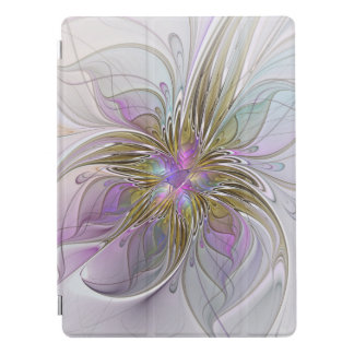 Floral Colorful Abstract Fractal With Pink & Gold iPad Pro Cover