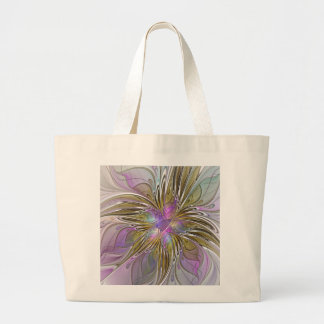 Floral Colorful Abstract Fractal With Pink & Gold Large Tote Bag