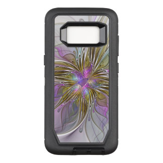 Floral Colorful Abstract Fractal With Pink & Gold OtterBox Defender Samsung Galaxy S8 Case