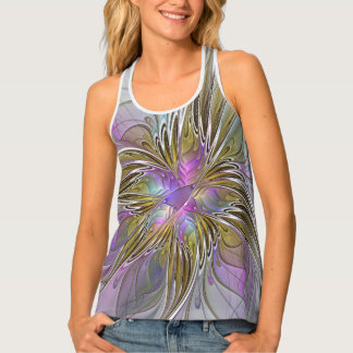 Floral Colorful Abstract Fractal With Pink & Gold Tank Top