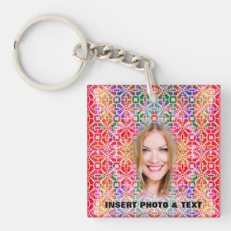 Floral Colorful Mosaic KayChain - Custom 2 Sides Double-Sided Square Acrylic Keychain
