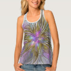 Floral Colourful Abstract Fractal With Pink & Gold Tank Top