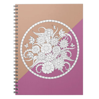 floral composition into sends it on geometric spiral notebook