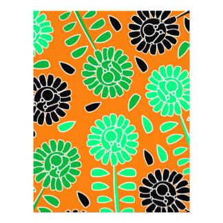 floral contrast orange letterhead
