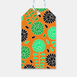 floral contrast orange pack of gift tags
