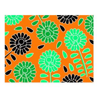floral contrast orange postcard