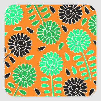 floral contrast orange square sticker