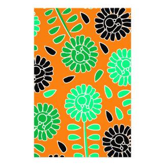 floral contrast orange stationery