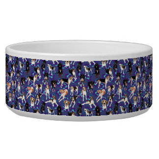 Floral Coonhound Bowl in Blue