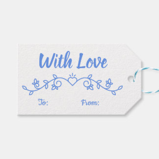 Floral Cornflower Blue Love Flower Laurel Wedding Gift Tags