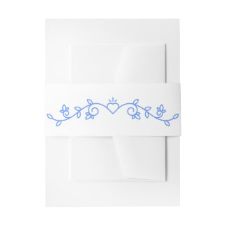 Floral Cornflower Blue White Laurel Flower Wedding Invitation Belly Band